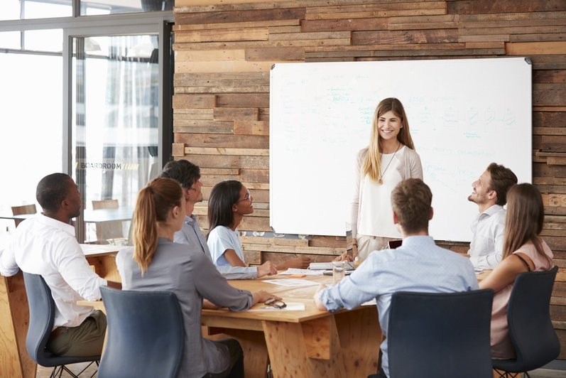 Woman giving a presentation at whiteboard to business team